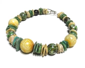 Faded Jade & Cream Chunky Natural Stone Choker Necklace - Womens, Necklaces, Green, Tribal, Unique, Heavy, Green, Carved Stones, Cream, OOAK
