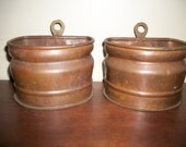 Vintage Copper Wall Pocket Planters