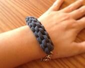 Nautical Bracelet, T-Shirt Yarn Bracelet, Grey Fabric Bracelet, Bohemian Bracelet, Bohemian Jewelry