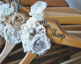 Personalized Wood Hanger for Wedding Dress, Bridesmaids or Wedding Gift Customized with Bride's Name, Professional Wedding Gown Pictures