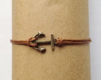 Delicate Bracelet, Thin Bracelet, Antique Bronze Anchor Charm Bracelet,  Friendship bracelet