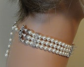 Pearl Choker Necklace Set 3 strands Ivory Swarovski Pearls with rhinestone Choice of color Beautiful Great Gatsby bridal wedding jewelry