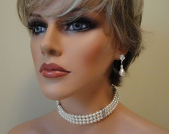 Complete Bridal Jewelry Set Pearl Choker Necklace Bracelet and Earrings Great Gatsby 3 strands Swarovski Pearls and rhinestone accents ivory