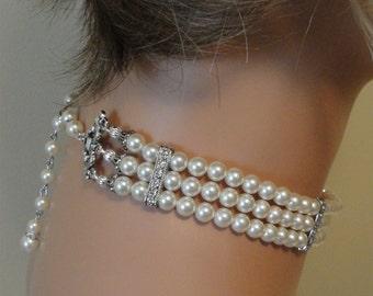 Pearl Choker Necklace Set 3 strands Ivory Swarovski Pearls with rhinestone Choice of color Beautiful Great Gatsby bridal wedding jewelry