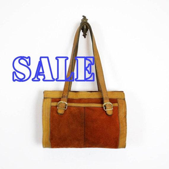 1970s rust & orange suede tote / leather trim