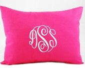 Monogrammed Pillow Cover, Throw Pillow Cover,  Personalized Graduation Gift Solid Pink  Pillow  Initial or Three Letter Monogram 12 x 16