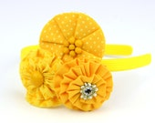 Autumn Fall Yellow Flower Headband Trio, with Polk a dot Fabric, Rhinestones, Bling for Toddlers and Girls