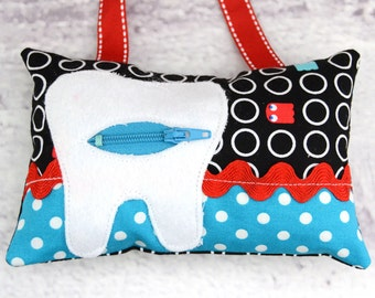Tooth Fairy Pillow- In Geo Ghosts, Pac Man on Black Geeks Gone Wild - Timeless Treasures - Smirk by Kyla May