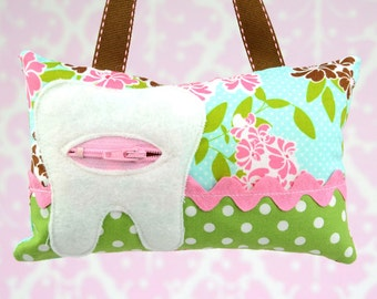 READY to SHIP! Tooth Fairy Pillow- In Riley Blake Dainty Blossoms Pink Green