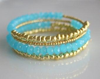Gold, Aqua, beaded, 4 layers, wrap, bracelet - GOLD AQUA WRAP