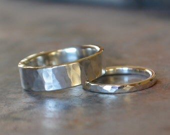 Silver Wedding Band Set His and Hers Hammered Sterling Silver Wedding Bands