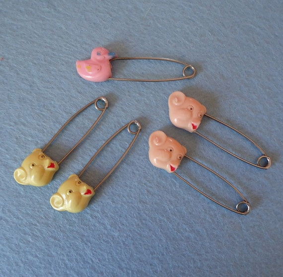 5 Assorted Vintage Baby Diaper Pins For Crafting Or Jewelry