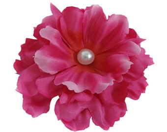 Light Red Peony flower Hair Clip with Pin brooch