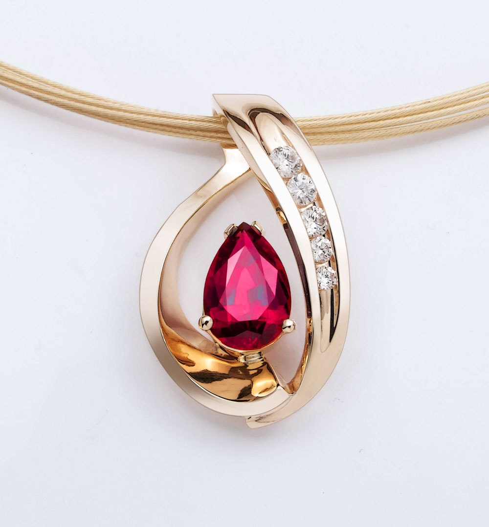 14k Yellow Gold Ruby Pendant Chatham Lab Grown Ruby Necklace