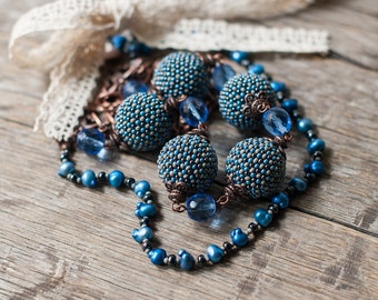 Dark Blue Boho Chic Necklace with Lace Bow - Boho Chic Jewelry, Boho Fashion