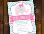 Printable Baby Shower Invitation Design - Sweet Little Peanut Pink & Aqua Elephant Theme
