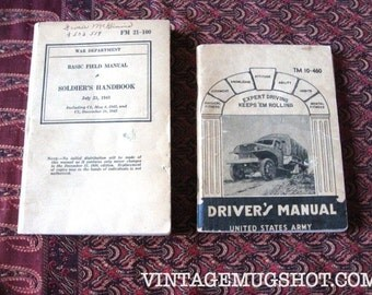 2 Vintage World War ll Soldier's manuals Driver's manual and Basic FieldUS ARMY 1941 9142