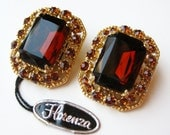 Vintage 50s Florenza Gold Filigree Amber Rhinestone Jeweled Clip Earrings with Original Hang Tag