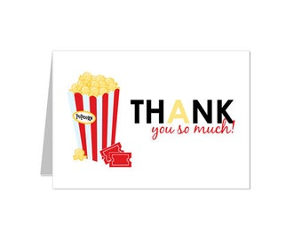 50% Off Sale! - PRINTABLE Movie Night Thank You Notecard - INSTANT DOWNLOAD