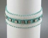 Turquoise White Silver Bracelet - Beadwoven Cuff