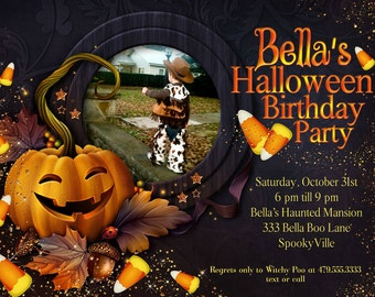 Halloween Photo Card, Halloween Invitation