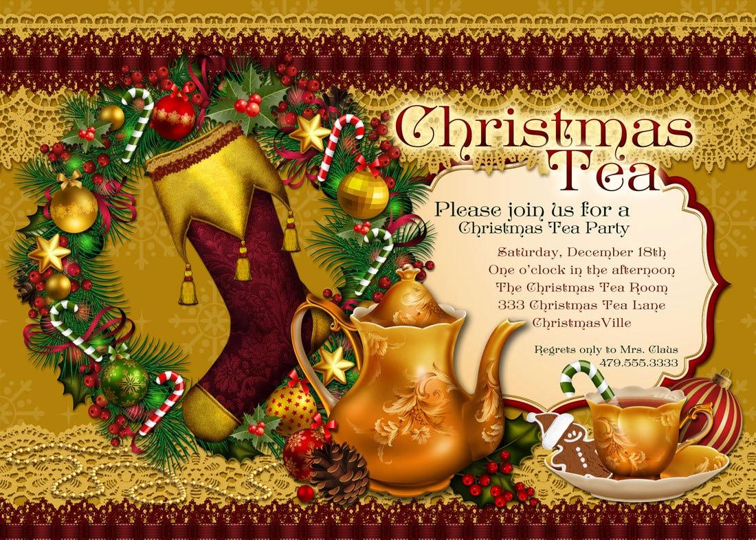 Christmas Tea Party Invitation Holiday Tea Party Party