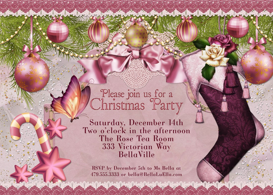 Ladies Christmas Party Ideas Part - 38: Office Christmas Party Invitation Ideas Christmas Party Invitation  Victorian Christmas Card Ladies
