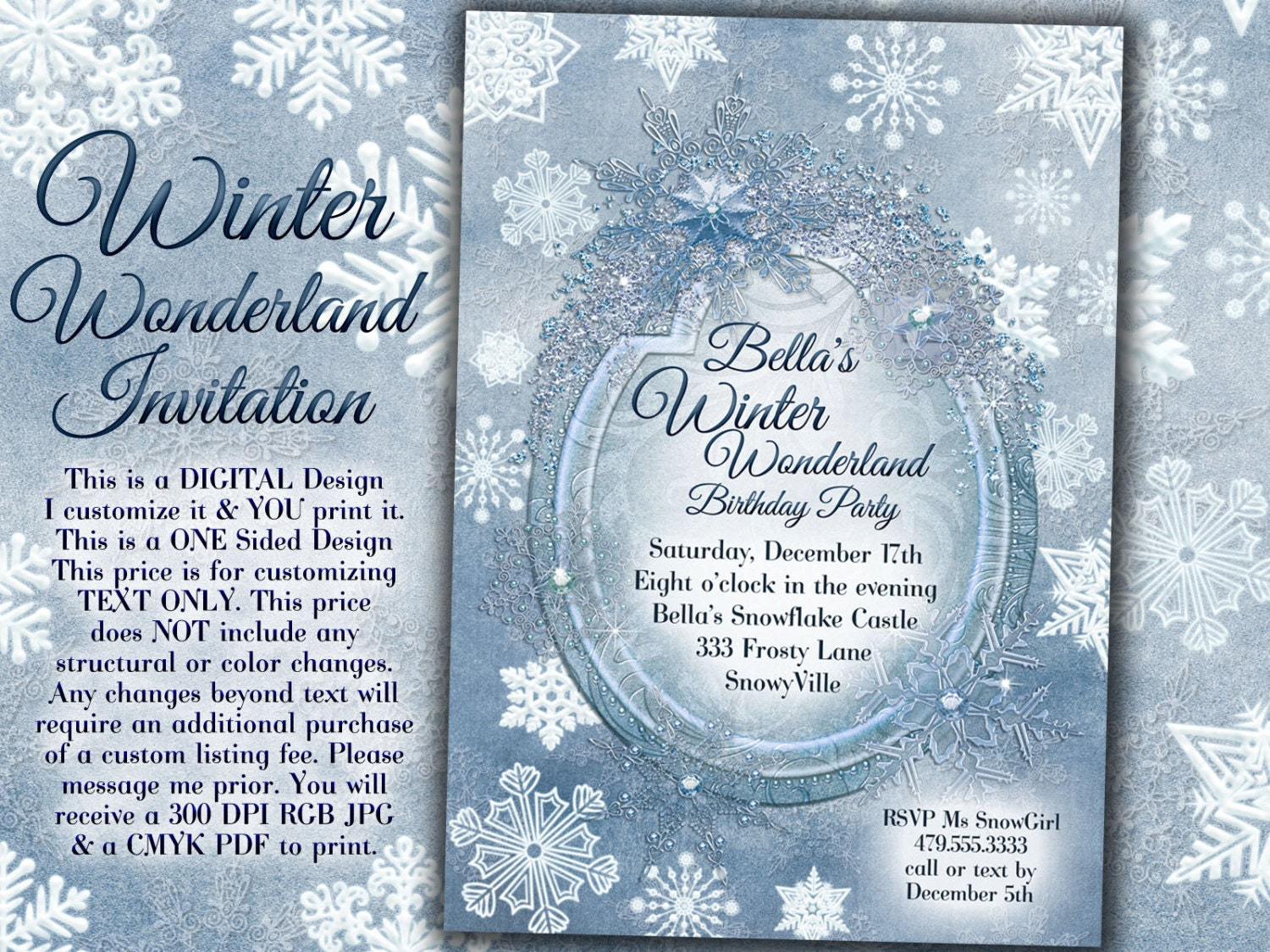 Winter Wonderland Party Winter Snowflake Invitation Winter