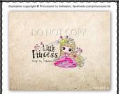 Custom Premade Logo Design - sketch hand drawn bird little girl crown logo photography business boutique logo by princess mi logo1225-9