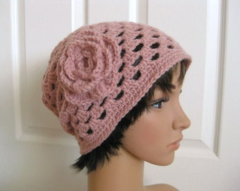 Slouch Beanie Hat Crocheted - Pink Flower Slouch Beanie - Crochet Slouch Hat - Pink Crocheted Beanie - Crocheted Slouch Beanie