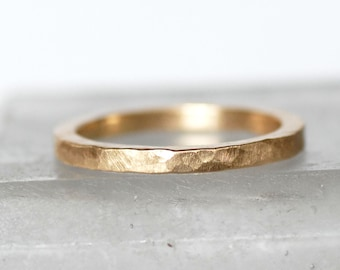 Square Gold Wedding Band, 2x2mm - Hammered Gold Band - Eco-Friendly Recycled Gold