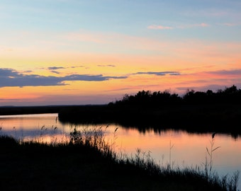Sunset Over the Waterway Fine Art Panoramic at North Carolina Coast