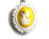 Cameo Necklace,Yellow Daisy Pendant,White Flower, Floral Vintage Inspired Jewelry