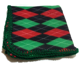 Argyle Fleece Blanket, Christmas Blanket, Holiday Fleece Throw, Argyle Fleece Throw, Red and Green Blanket, Green Crochet Edge, Plaid Throw
