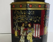 Vintage Metal Tin Canisters in Geisha Asian Print - Vintage 1970s