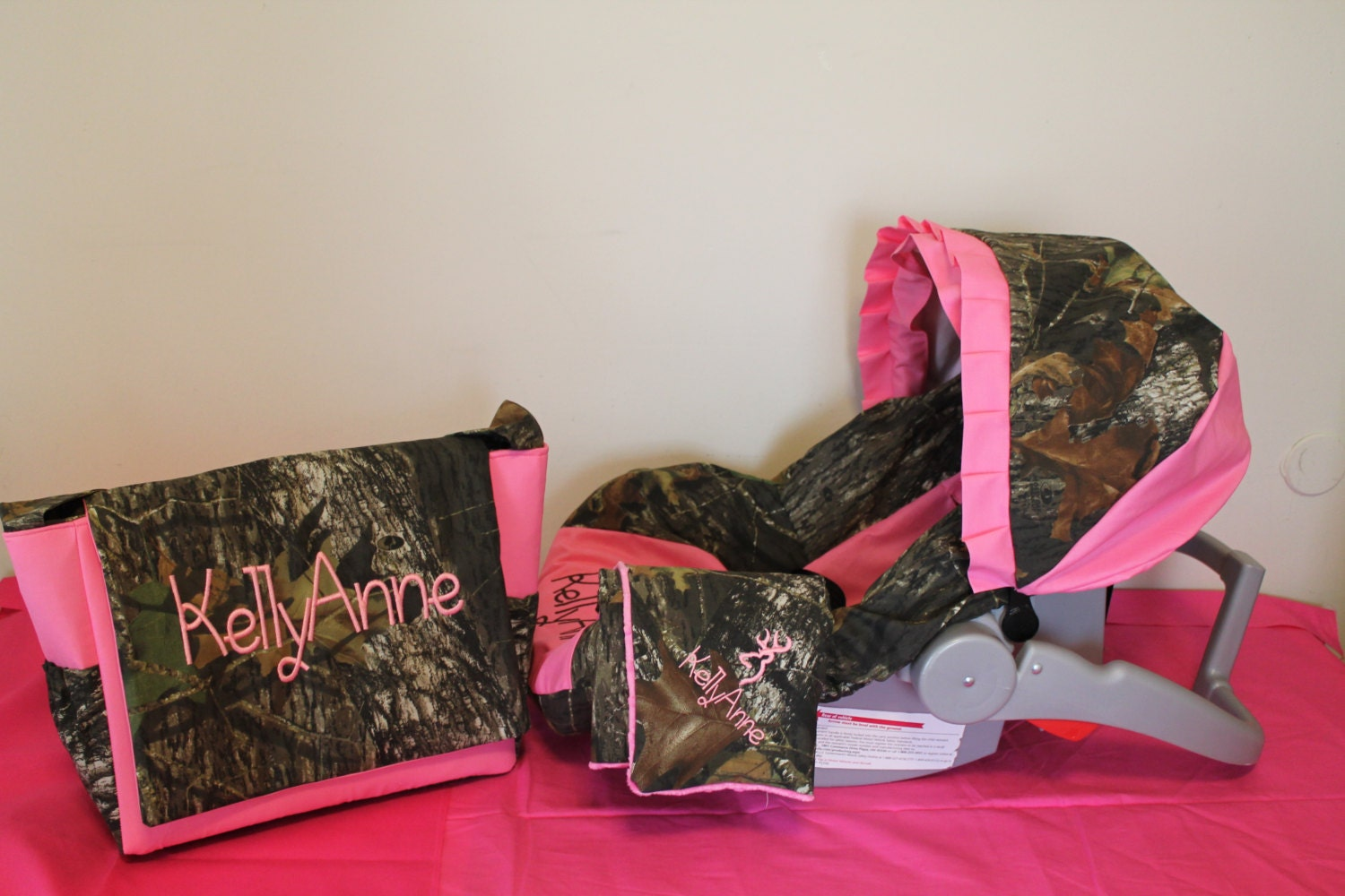 3 Piece Set Baby Pink Amp Mossy Oak Camo Fabric Infant Car Seat