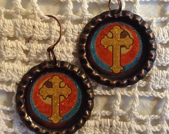 Sparkling Antique Copper Bottle Cap Earrings with Cross