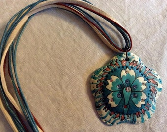 Turquoise Polymer Flower Necklace
