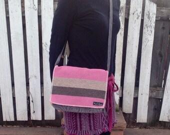 iPad Bag Eco Friendly Upcycled Padded Messenger Bag Pink and Gray