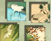 Printable Digital Sheet 1 Inch Squares Asian Birds Japanese Chinese Vintage Illustrations Asian Art Instant Download  CS 113