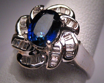 Vintage Sapphire Diamond Wedding Ring Retro Deco 14K