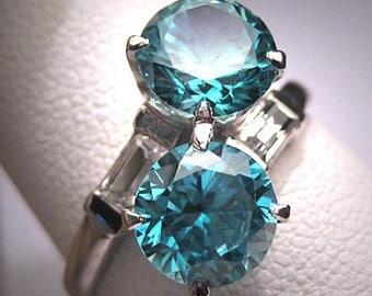 Antique Blue Zircon Wedding Ring Vintage Art Deco 1930