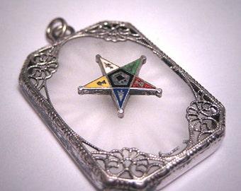 Antique Art Deco Camphor Glass Star Pendant Necklace