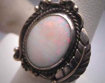 Vintage Australian Opal Ring Victorian Art Deco Silver