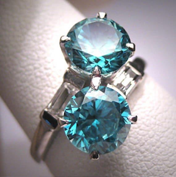 antique blue zircon wedding ring vintage deco 1930
