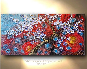 ORIGINAL Painting 24x48 Blue Red Yellow Purple Oil Canvas Abstract Art painting tree flower Large Modern Contemporary Painting by OTO