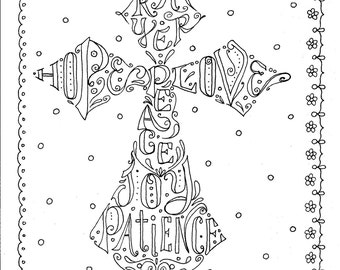 Instant Download Cross Scripture Coloring Page/digital/color book/digi stamp/christian/church/bible