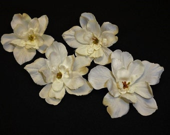 Silk Flowers - TEN Delphinium Blossoms in Cream - SMALLER SIZE - Artificial Flowers