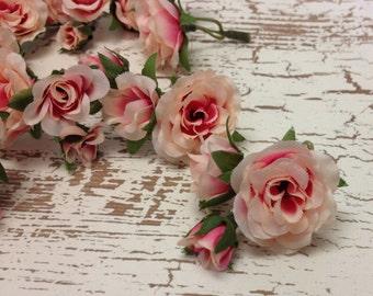 Silk Flowers - 27 Tiny Cream Pink Mini Roses - MINIATURE Artificial Roses