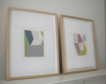 Pair of original geometric handmade screenprints in summery soft colours, as seen in the R.A exhibition.